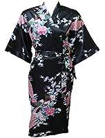 Artiwa Women's Kimono Style Satin Robe - Peacock & Blossom Design