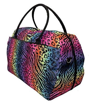 Ladies LINED Holdall Animal Print Gym Travel Beach Pool Flight Maternity Bag (OB706 Animal)