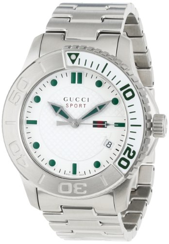 Gucci Men's YA126232 G-Timeless Dive White Dial Steel Bracelet Watch