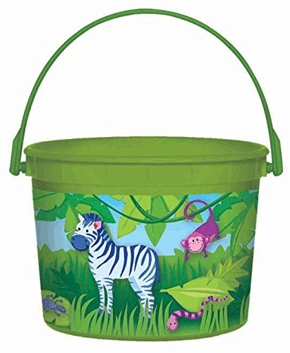 "Amscan Colorful Jungle Animals Birthday Party Favor Container, 4.75 x 7.3"", Green/Multi - 1"