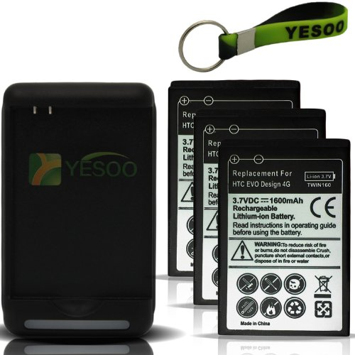 Htc Evo Design 4G Replacement Battery 1600Mah X3 Compatible With Htc Evo Design 4G Only