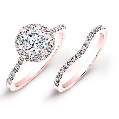 petite rose gold pave halo engagement ring
