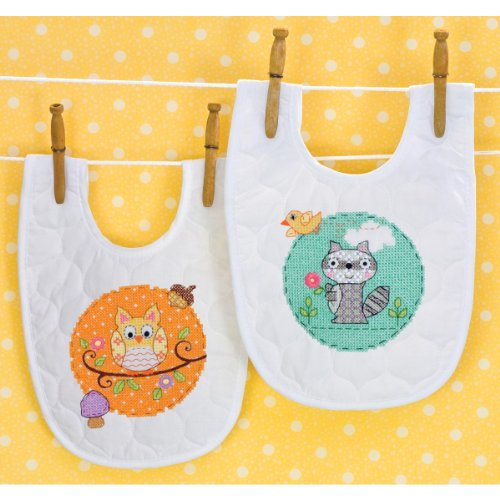 Dimensions Needlecrafts Stamped Cross Stitch, Happi Woodland Bibs