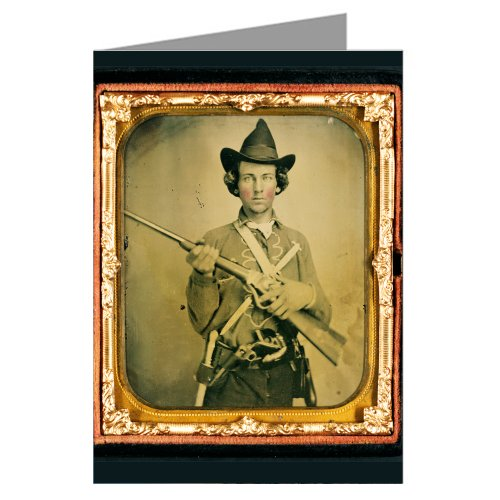 1 Vintage Greeting Cards Of Confederate Cavalry Soldier In Uniform With Slant Breech Sharps Carbine, Two Knives, And Two Revolvers-Ambrotype /Tintype From The Civil War