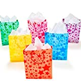 Fun Express Frosted Star Gift Bags (1 dz) Color Assorted Colors, Lark, Amuse, Trifle, Tw...