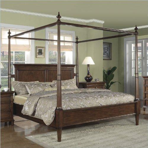 Cheap Wynwood Hathaway Canopy Bed In Grand Manier Cherry