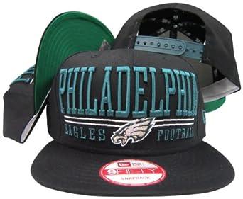 Philadelphia Eagles Solid Black Two Bar Block Plastic Snapback Adjustable Plastic... by New Era