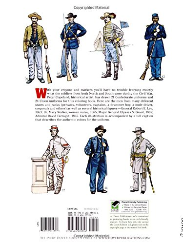 civil war uniforms coloring book dover fashion coloring