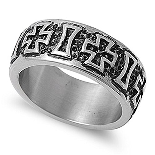 Men'S Biker Iron Cross Ring Polished Stainless Steel Comfort Fit Band New Usa Size 9 front-271790