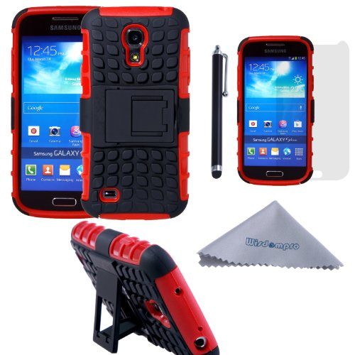 S4 Mini Case, Wisdompro [2 Piece in 1] Dual Layers [Heavy Duty] Hard Soft Hybrid Rugged Protective Case with [Foldable Kickstand] for Samsung Galaxy S4 Mini (NOT S4 Fit) - Red / Black (Samsung S4 Mini Case Red compare prices)