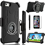 iPhone 6 Plus Case, ULAK Case for Apple iPhone 6 Plus 5.5 inch Belt Clip Holster Heavy Duty Rugged Hybrid Shockproof Combo Kickstand Cover With Screen Protector and Stylus (Black+Black)