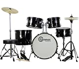 New Complete 5-Piece Black Junior Drum Set with Cymbals Stands Sticks Hardware & Stool