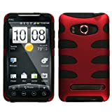 MyBat HTC EVO 4G Fishbone Phone Protector Cover - Titanium Red/Black