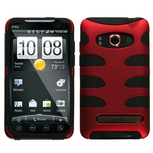 HTC Evo Titanium Red Fishbone Design Protector Case