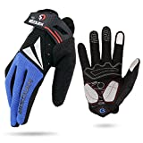 HuwaiH Cycling Gloves Men's/Women's Mountain Bike Gloves Full Finger Biking Gloves | Anti-slip Shock-absorbing Gel Pad Breathable Cycle Gloves (Blue, Large)