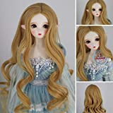 1/3 SD BJD with 9-10 Inch Doll Wig High Temperature Synthetic Fiber Long Wavy Curly Orange Hair Wig BJD Doll Wigs for 1/3 BJD SD Doll(406) (Color: 406)
