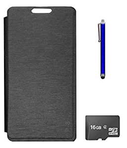 TBZ Flip Cover Case for Lava Flair P8? with 16GB MicroSD and Stylus -Black