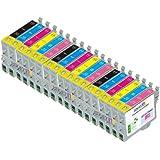 18 Pack Cartridges for Epson Artisan 600, Artisan 700, Artisan 710, Artisan 800 , Artisan 810 (Compatible T098 - T0981 Bk, C, M, Y, Lc, Lm)