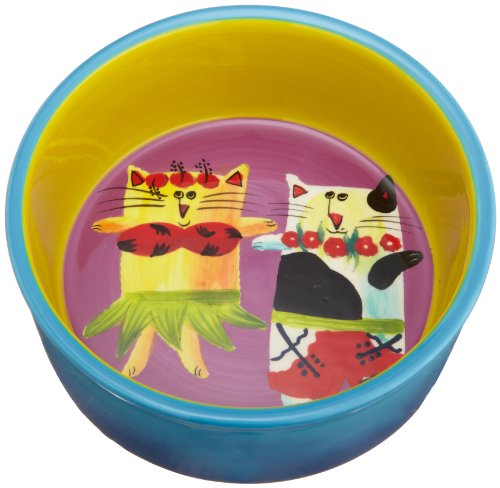 Henriksen Imports Mary Naylor Designed Vacation Cat Bowl, 6-inch Pet Bowl