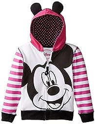 Disney Girls\' Mickey Mouse Zip Up Hoodie with Ears On Hood, Multi, 6X