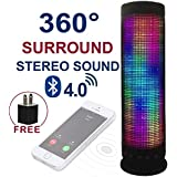 Jgglobe Speaker 10W LED Pulse Bluetooth 4.0 Full Spectrum Smart Speaker Wireless Portable Speaker TF Support with Multi-function Magic Dancing Colorful Music Led Light Built-in Speakerphone with Dazzle LED Light Powerful Sound Battery up to 8 hours for Apple iPhone 5 /5S / 6 / 6 Plus, iPad Air 2 / mini 3, Samsung Galaxy S3 / S4 /S5 / S6 / S6 Edge, Nexus, HTC M9, Motorola, LG and More Smartphones Tablets PC MP3 MP4 LED Speaker With Free USB Charger Adapter