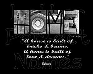 000 Alphabet Art - HOME (Brick) - Inspirational / Motivational Wall Art 8X10 Photograph Matted with Word / Letter Art Photography.