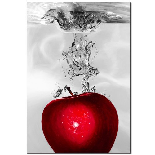 Trademark Fine Art Red Apple Splash by Roderic Stevens Canvas Wall Art, 22x32-Inch (Food And Beverage Wall Art compare prices)