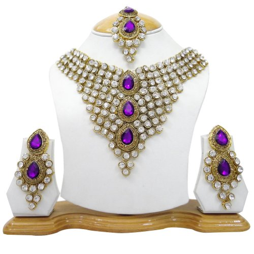 Bridal Wear Purple CZ Gold Tone Party Wear Necklace Set Indian Women Costume Ethnic Jewellery Gift