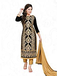PShopee Black & Gold Cotton Embroidery Unstitched Karachi Suit Dress Material