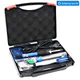 YOUSHARES Adjustable Temperature Soldering Iron Kit 7 in 1 - including 60W 110V Soldering Gun Pen, 5 pcs Various Soldering Tip, Solder Sucker, Tool Box, Solder Wire, Static-free Tweezer and Iron Stand