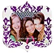 Locker Frame - Purple Damask Print Glitter