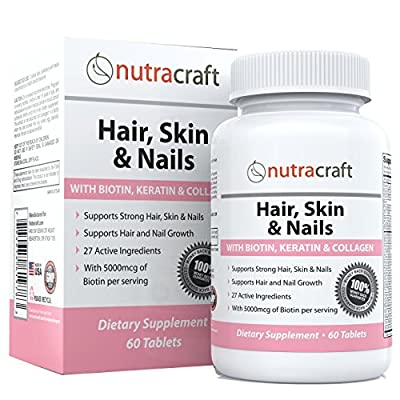 #1 Hair, Skin & Nails Supplement with 5000mcg of Biotin, Keratin, Collagen, MSM, Silica & Hyaluronic Acid to Promote Hair Growth, Stronger Nails and Glowing Skin - 60 Tablets