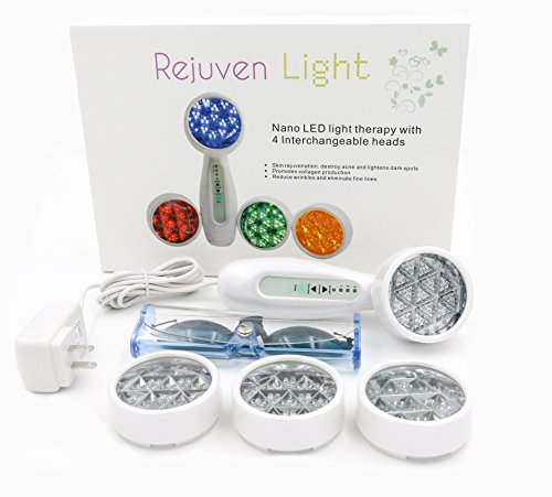 Rejuven Light LED Light therapy w/ 4 Interchangeable heads, skin rejuvenation, l…