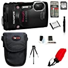 Olympus Stylus Tough TG-850 Digital Camera (Black) + 32GB Memory Card + Standard Large Digital Camera Case + Extra Battery + Accessory Kit