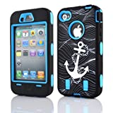 Meaci® Iphone 4 4s Case Hard Soft Anchor Print Combo Hybrid Defender High Impact Body Armorbox Hard Pc&silicone Case (Anchor&sky Blue)