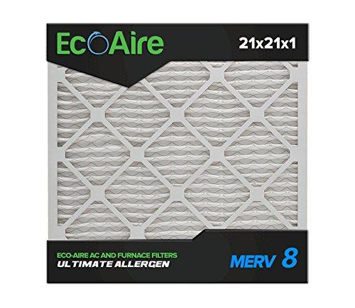 Eco-Aire 21 x 21 x 1 Premium MERV 8 Pleated Air Conditioner Filter, 6 Pack