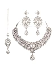 I Jewels Traditional Gold Plated Bridal Jewellery Set With Maang Tikka For Women