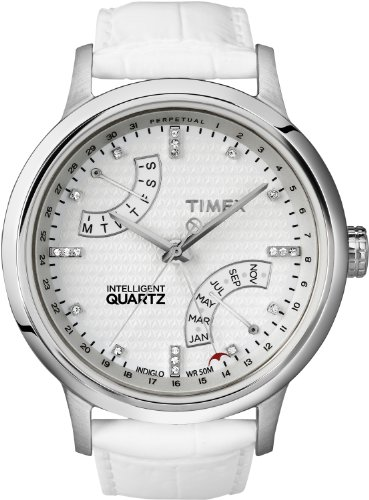 Timex Women's T2N567 Intelligent Quartz T Series Perpetual Calendar White Leather Strap Watch