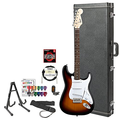 Squier Bullet By Fender (031-0001-532) Brown Sunburst Strat With Picks, Tuner, Stand, Hard Case, Strap, Cable, Lesson & Strings