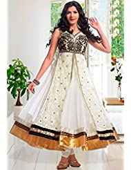 Utsav Fashion Women's Off White Net Readymade Anarkali Churidar Kameez-Small