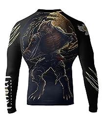 Raven Fightwear Men\'s BJJ Horror Werewolf Long Sleeve MMA Rash Guard Medium