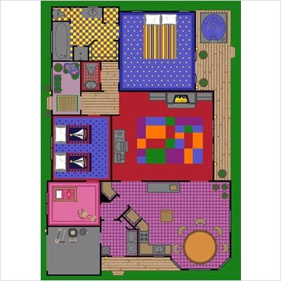 "Joy Carpets Kid Essentials Active Play & Juvenile Creative Play House Rug, Multicolored, 7'8"" x 10'9"""