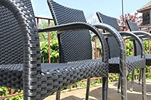 Patio Resin Outdoor Garden Deck Wicker Arm Chair. Black Color (Set of 4) by SK New Interiors
