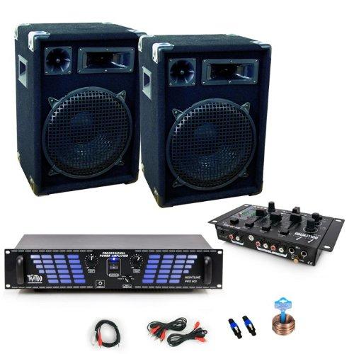 1600w party pa anlage endstufe mixer boxen dj 371. Black Bedroom Furniture Sets. Home Design Ideas
