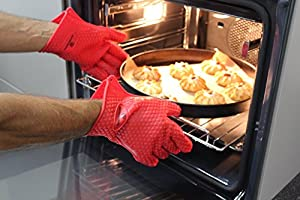 Master Kitchen Silicone Gloves Heat Resistant Oven Mitts for BBQ, Smoking, Cooking, Baking & Potholder. Waterproof, Five-Fingered ( Red, Size M, Set of 2 gloves )