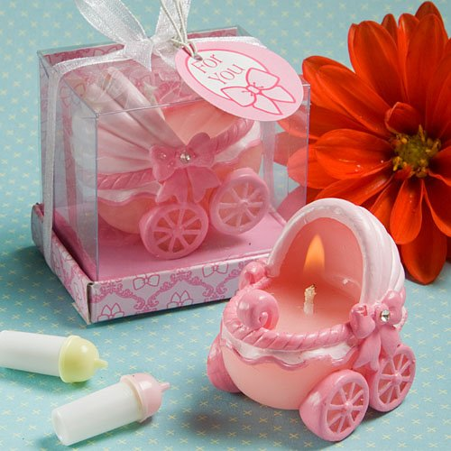 Fashioncraft Adorable Carriage Candles, Baby Pink