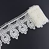 Yontree Floral Venise Lace Applique Sewing Trim Bridal Wedding Applique White 2 yards