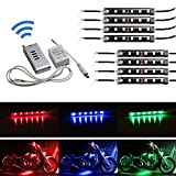 iJDMTOY 8pcs RGB Multi Color LED Motorcycle Ground Effect Light Kit w  Wireless Remote Control