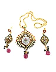 Aria Party Wear Ruby Multicolor CZ Gold Plated Pendant Earring Necklace Set Pt2