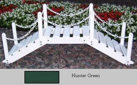 Prairie Leisure Design 47B Hunter Green Decorative Garden Bridge With Posts And Chain - Hunter Green